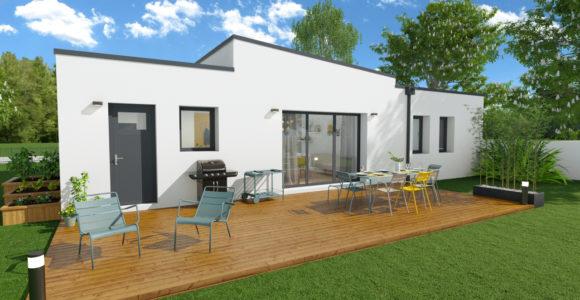 Maison design toit plat bac acier